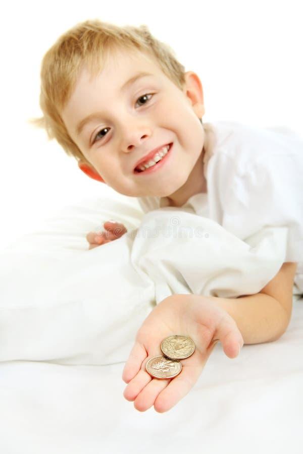 Dinero de la hada de diente imagen de archivo