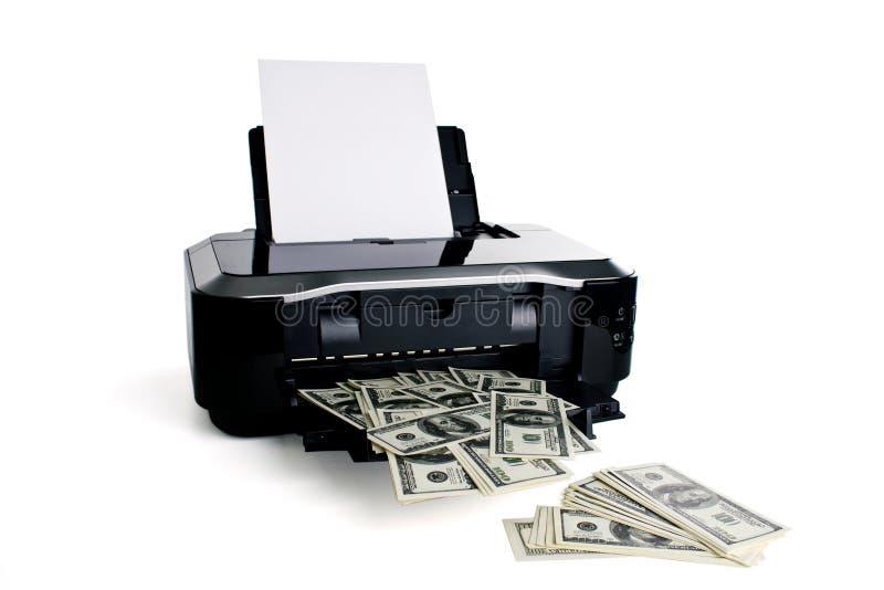 Dinero de la impresión de la impresora fotos de archivo
