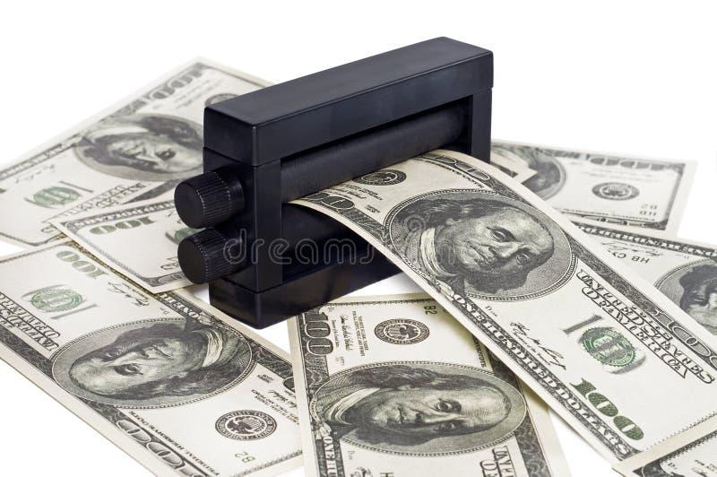 Dinero de la impresión de la máquina imagen de archivo libre de regalías