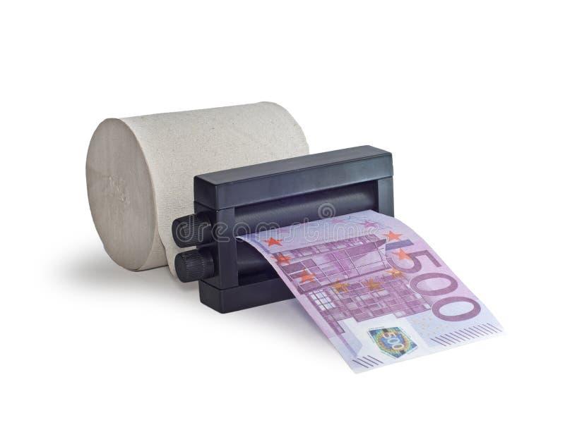 Dinero de la impresión de la máquina fuera del papel higiénico fotografía de archivo