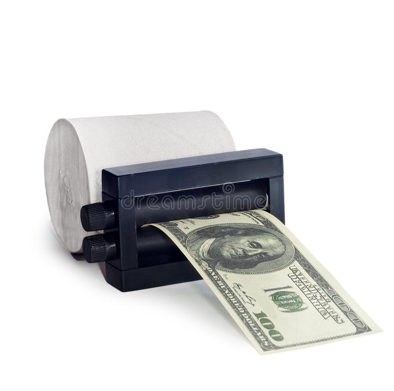 Dinero de la impresión de la máquina fuera del papel higiénico imagen de archivo