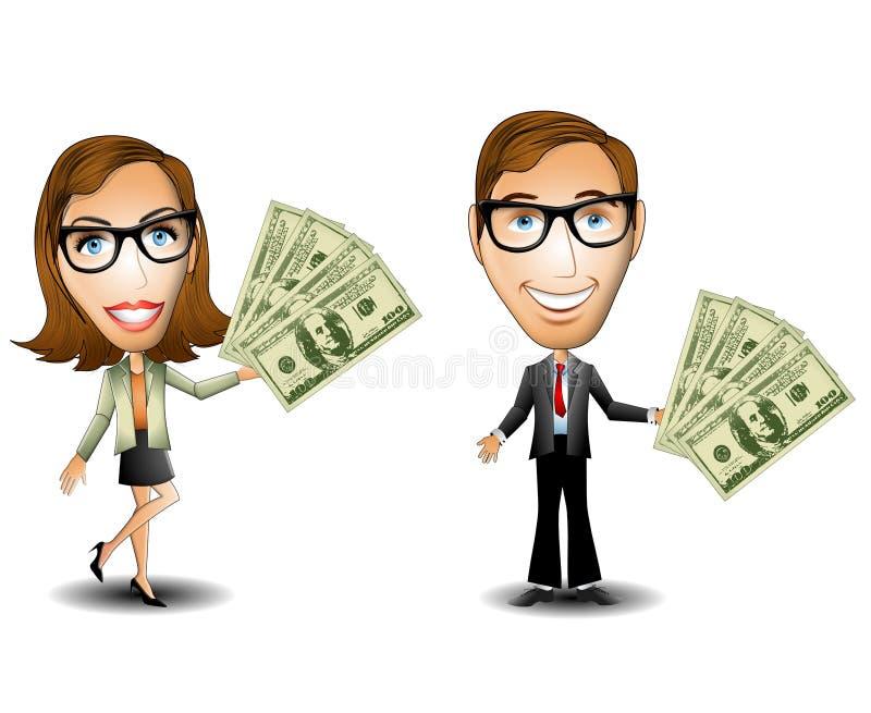 Dinero de la mujer del hombre de negocios ilustración del vector
