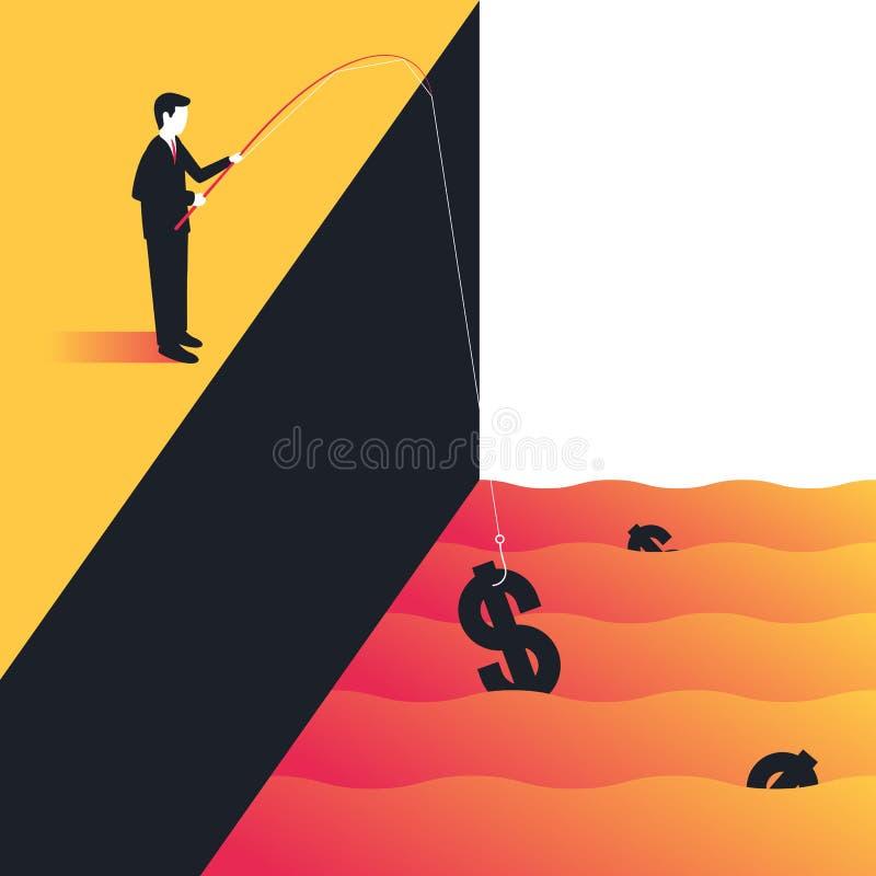 Dinero de la pesca del hombre de negocios ilustración del vector