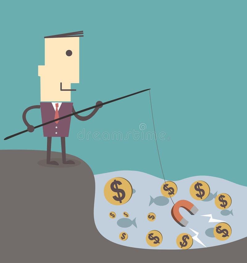 Dinero de la pesca del hombre de negocios por el ejemplo eps10 del vector del imán ilustración del vector