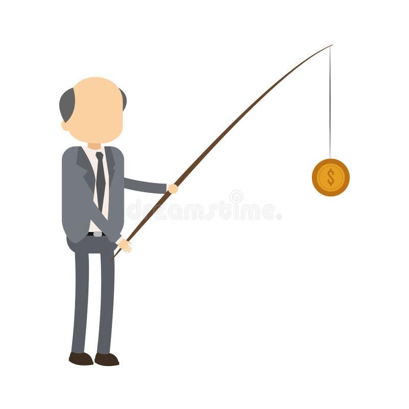 Dinero de la pesca del hombre de negocios libre illustration