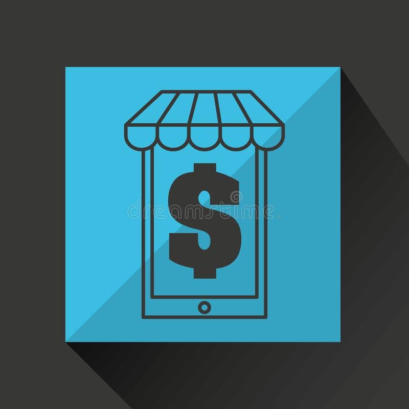 Dinero de la tienda del mercado del comercio electrónico ilustración del vector