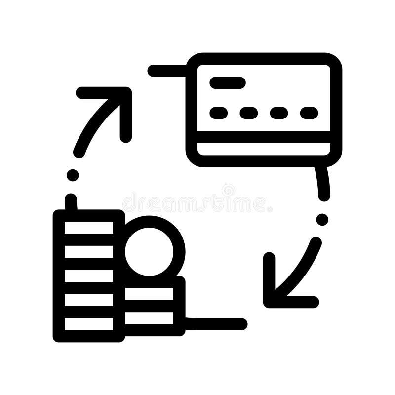 Dinero de la transacción en la línea fina icono del vector de la tarjeta ilustración del vector