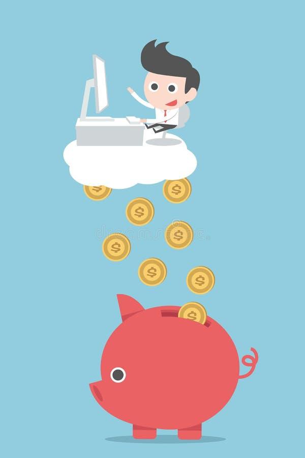 Dinero de las ganancias del hombre de negocios libre illustration