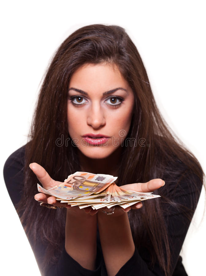 Dinero de ofrecimiento de la mujer joven imágenes de archivo libres de regalías