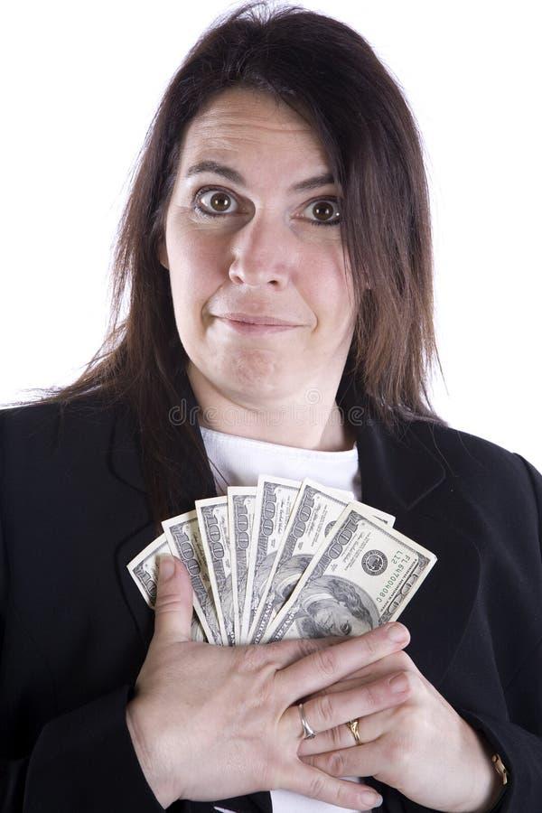 Dinero de protección de la mujer fotografía de archivo