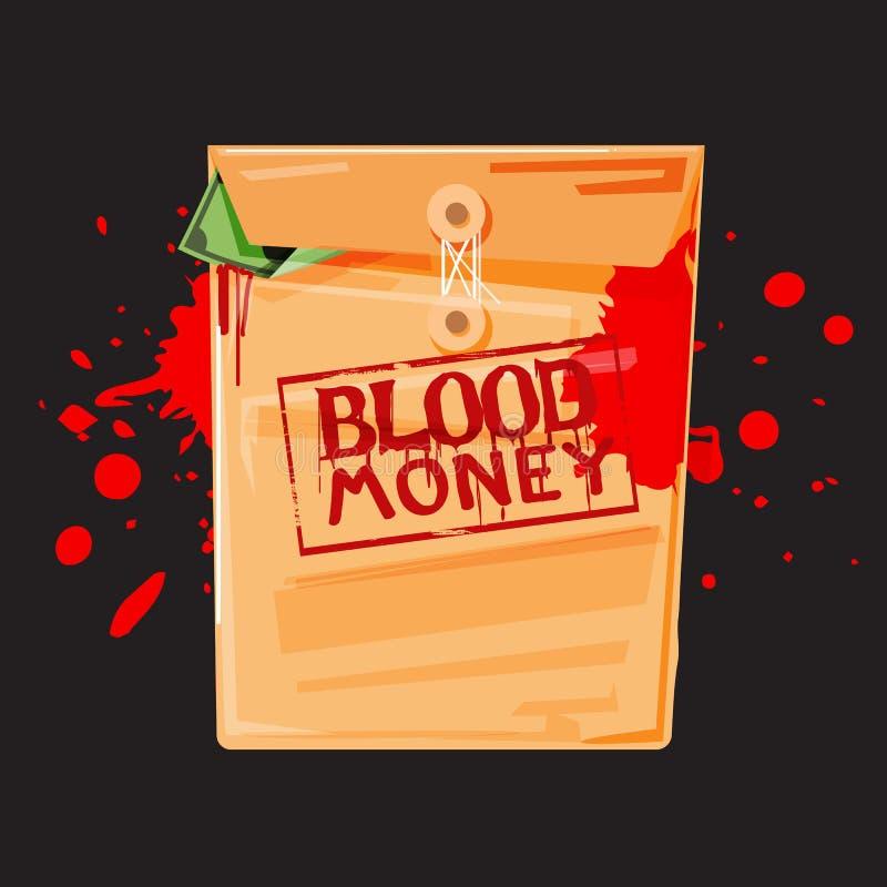 Dinero de sangre terraplén del sobre de Manila con el interior del dinero - libre illustration
