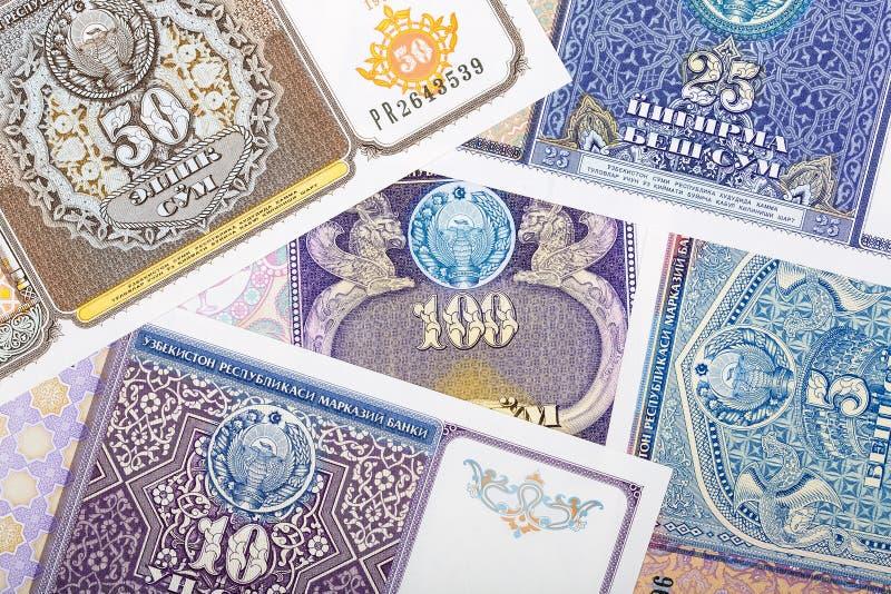 Dinero de Uzbekistán, un fondo fotografía de archivo libre de regalías
