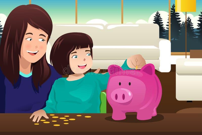 Dinero del ahorro de la hija de la madre a un piggybank libre illustration