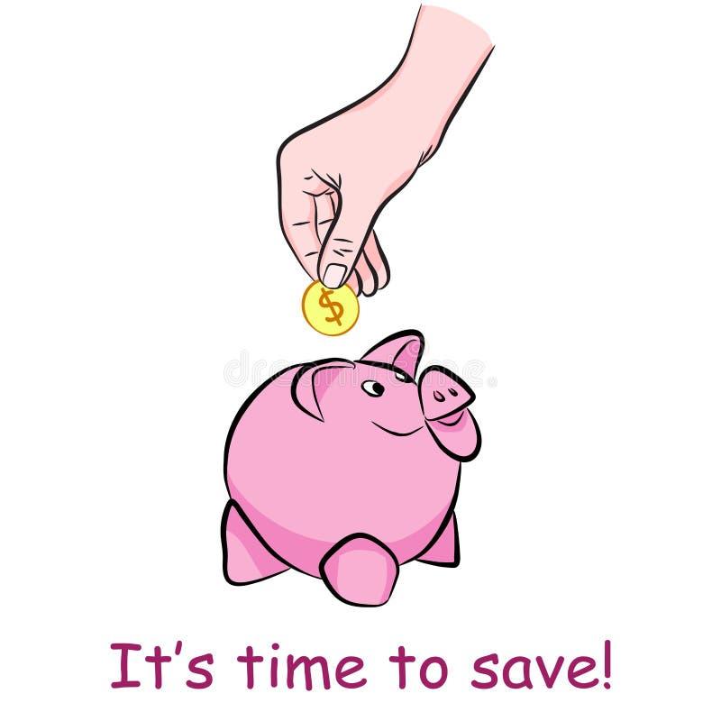 Dinero del ahorro del cerdo de la caja de dinero Moneda del tiro de la mano en el moneybox libre illustration