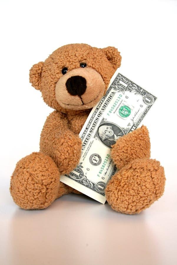 Dinero del ahorro del oso imagenes de archivo