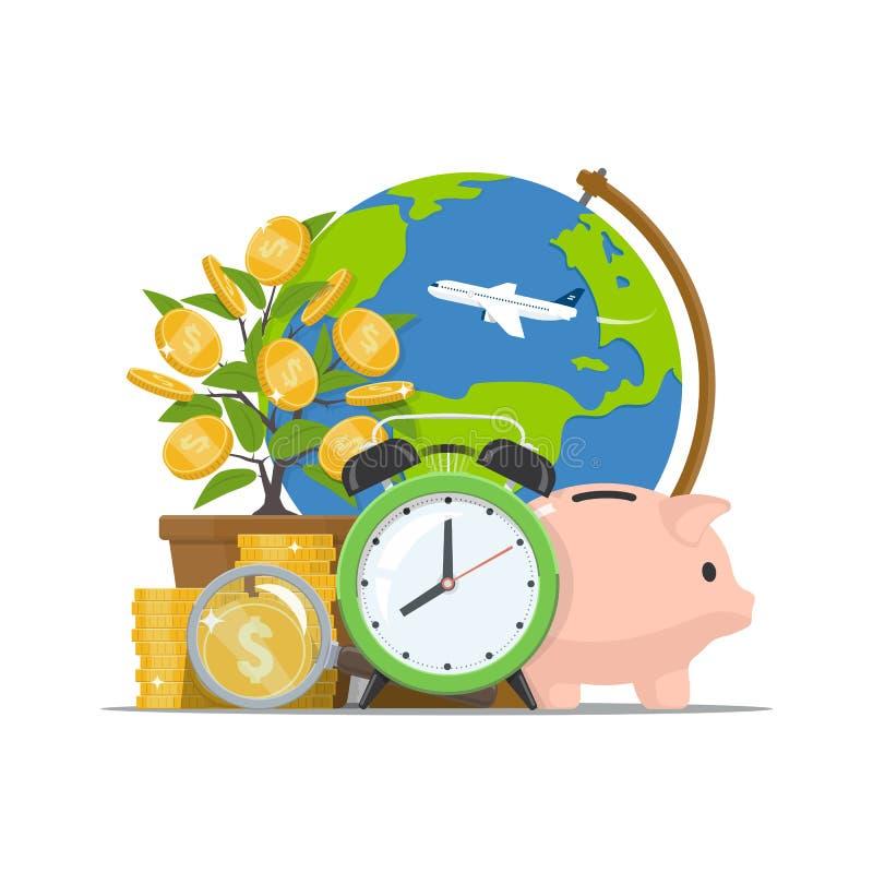 Dinero del ahorro Inversión del tiempo Concepto del negocio del desarrollo económico Ejemplo del vector en estilo plano ilustración del vector