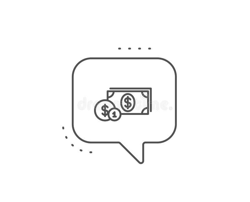 Dinero del efectivo con la l?nea icono de las monedas. banking. Vector stock de ilustración