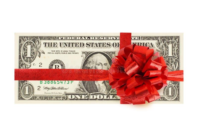dinero del efectivo de 1 dólar con la cinta roja aislada en el fondo blanco Una cuenta de dólar americano foto de archivo