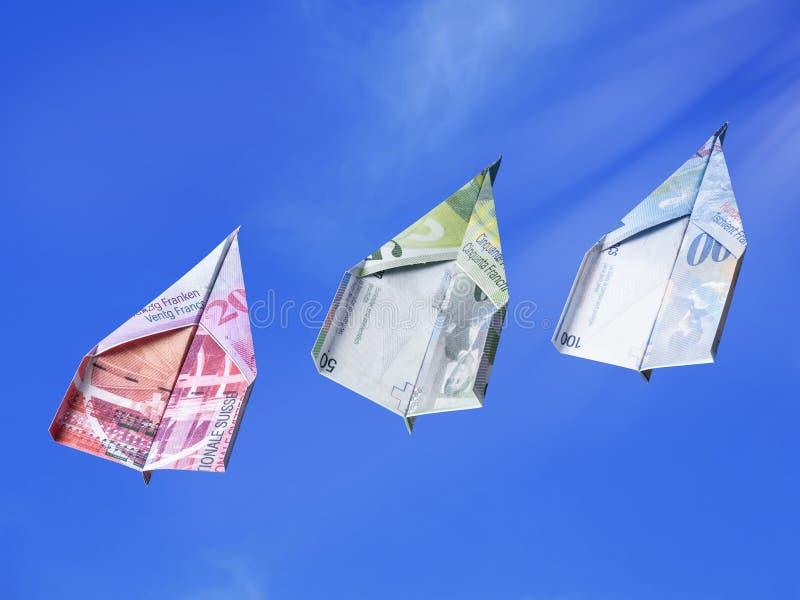 Dinero del franco de Swiiss que sube en el aire fotografía de archivo libre de regalías