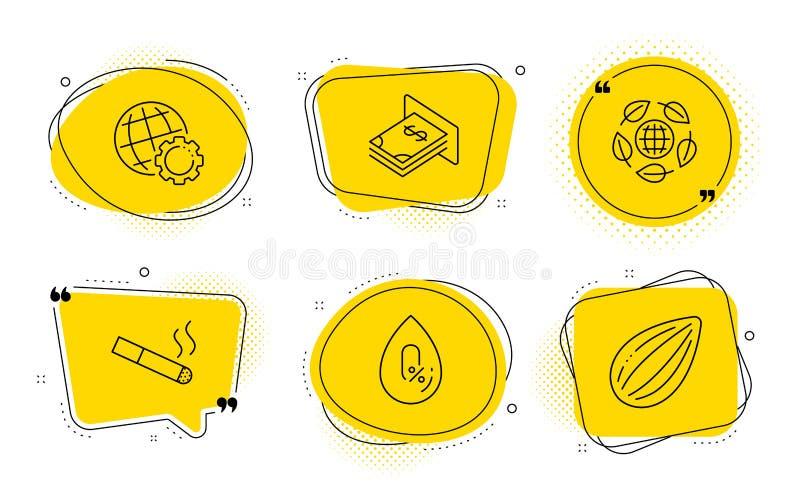 Dinero del globo, de la atmósfera y sistema orgánico de los iconos de Eco El fumar, muestras ningún alcohol y nuez de la almendra ilustración del vector