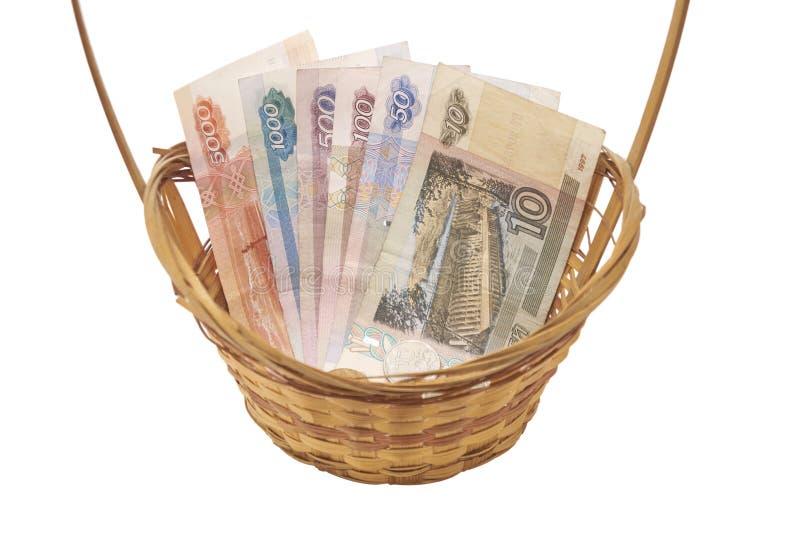 Dinero del ruso de la cesta imagen de archivo libre de regalías