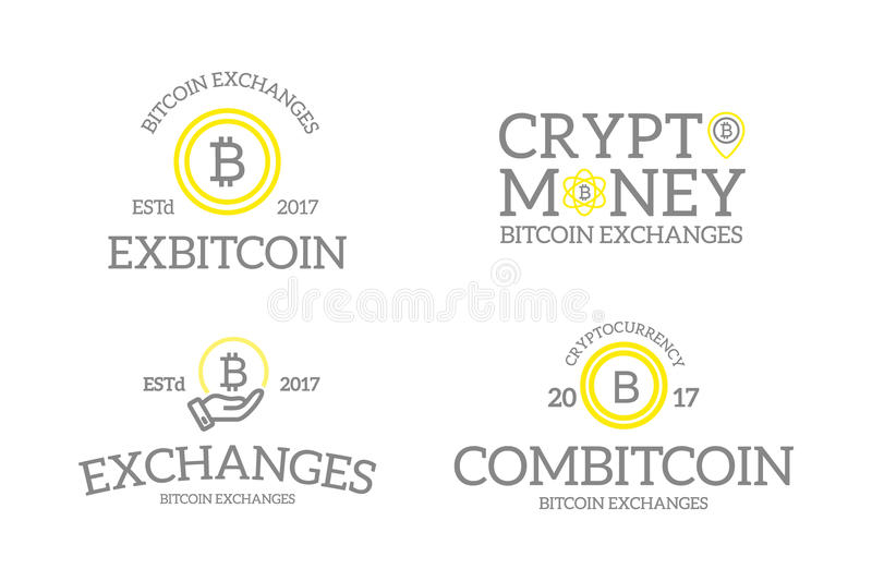 Dinero digital y bitcoin del vintage retro único, logotipos o insignias del cryptocurrency, emblemas, etiquetas e insignias y otr libre illustration