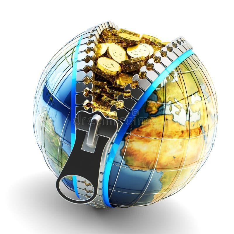Dinero electrónico, efectivo digital, cartera en línea y concepto del negocio de Internet