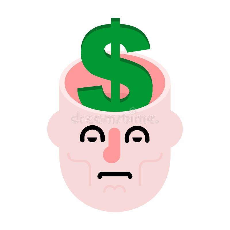 Dinero en cabeza abierta Dólares en mente Cobre adentro el cerebro ilustración del vector