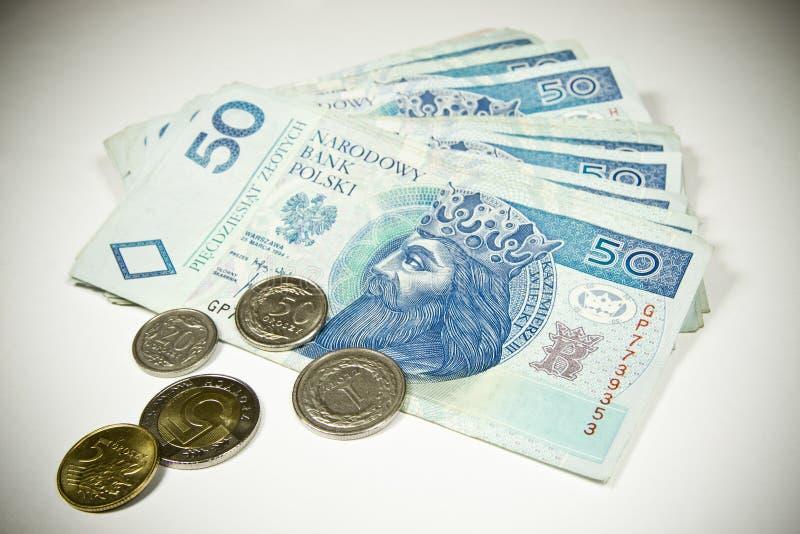 Dinero en circulación 50 de Polonia PLN imagen de archivo libre de regalías