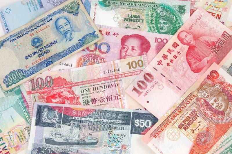 Dinero en circulación asiático imagenes de archivo
