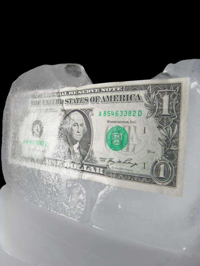 Dinero en circulación congelado o de descongelación de los E.E.U.U. foto de archivo libre de regalías