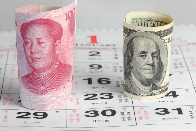 Dinero en circulación de China los E.E.U.U. fotos de archivo libres de regalías