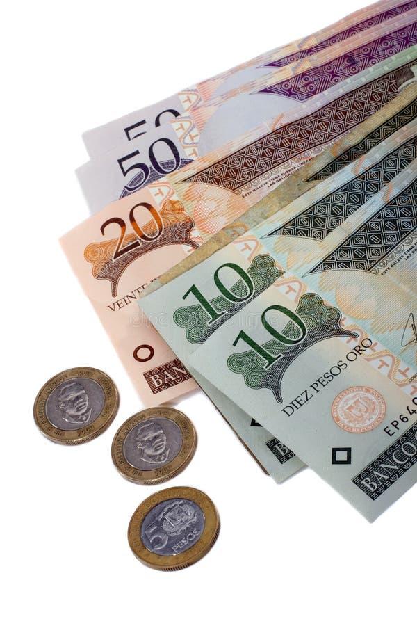Dinero en circulación de la República Dominicana imagen de archivo libre de regalías