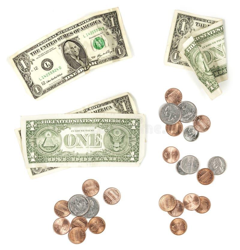Dinero en circulación de los E.E.U.U. aislado en blanco fotografía de archivo libre de regalías