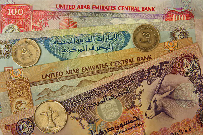 Dinero en circulación de United Arab Emirates fotos de archivo