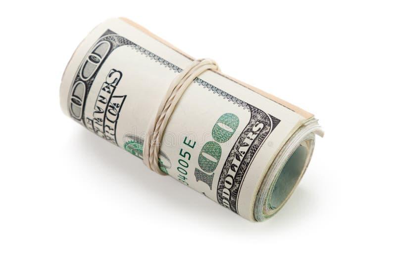 Dinero en circulación rodado del dólar imagenes de archivo