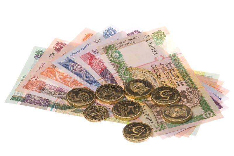 Dinero en circulación srilanqués aislado imagen de archivo libre de regalías