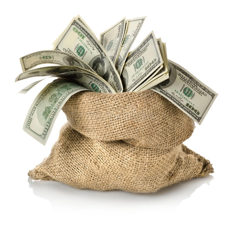Dinero en el bolso fotos de archivo