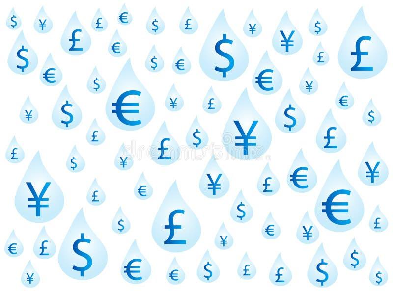 Dinero en gotas ilustración del vector