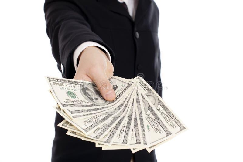 Dinero en manos humanas fotos de archivo libres de regalías