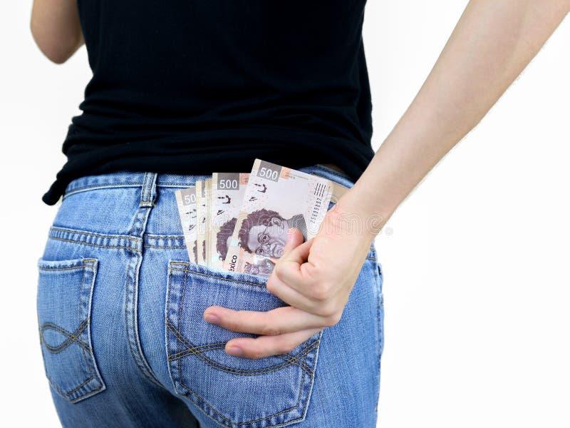 ¡Dinero en mi bolsillo! fotos de archivo