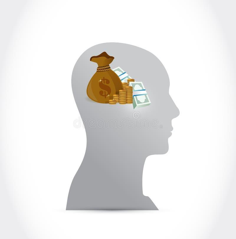 Dinero en mi diseño del ejemplo del concepto de la mente ilustración del vector