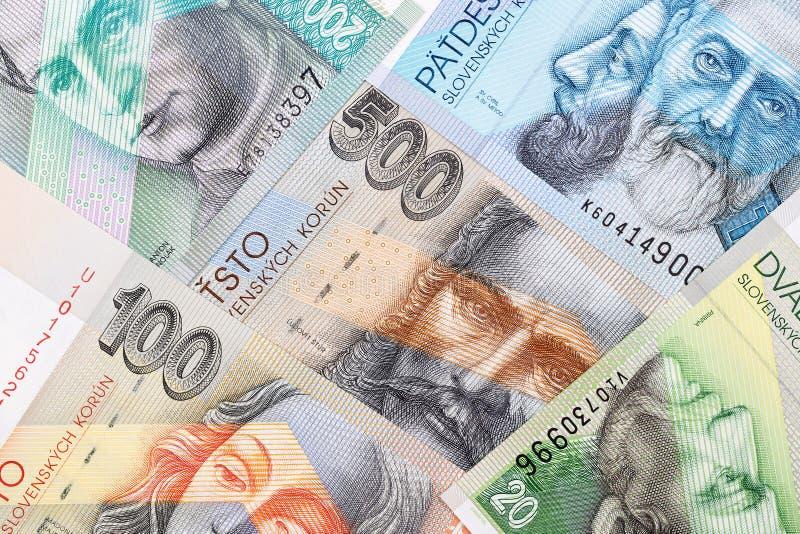 Dinero eslovaco, un fondo imagen de archivo libre de regalías
