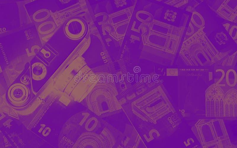 Dinero euro de diverso fondo del extracto del duotone de las denominaciones imagenes de archivo