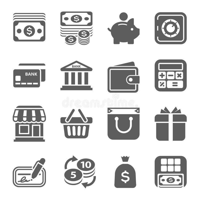 Dinero, finanzas, iconos que hacen compras ilustración del vector