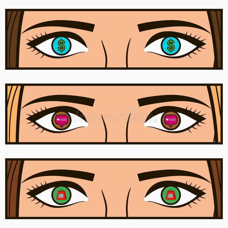 Dinero, icono social de la red - siga y la venta firma adentro ojos femeninos Ejemplo cómico del estallido-arte con intereses de  ilustración del vector