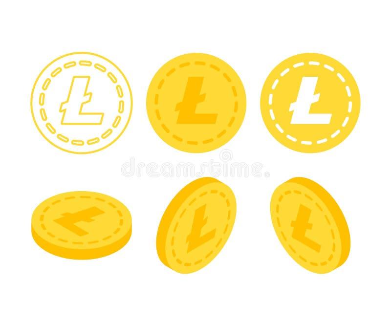 Dinero isométrico plano de Litecoin 3d ilustración del vector