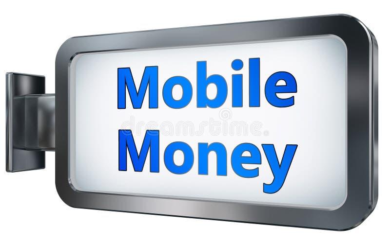 Dinero móvil en fondo de la cartelera stock de ilustración