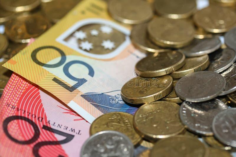 Dinero, monedas y billetes australianos imagenes de archivo