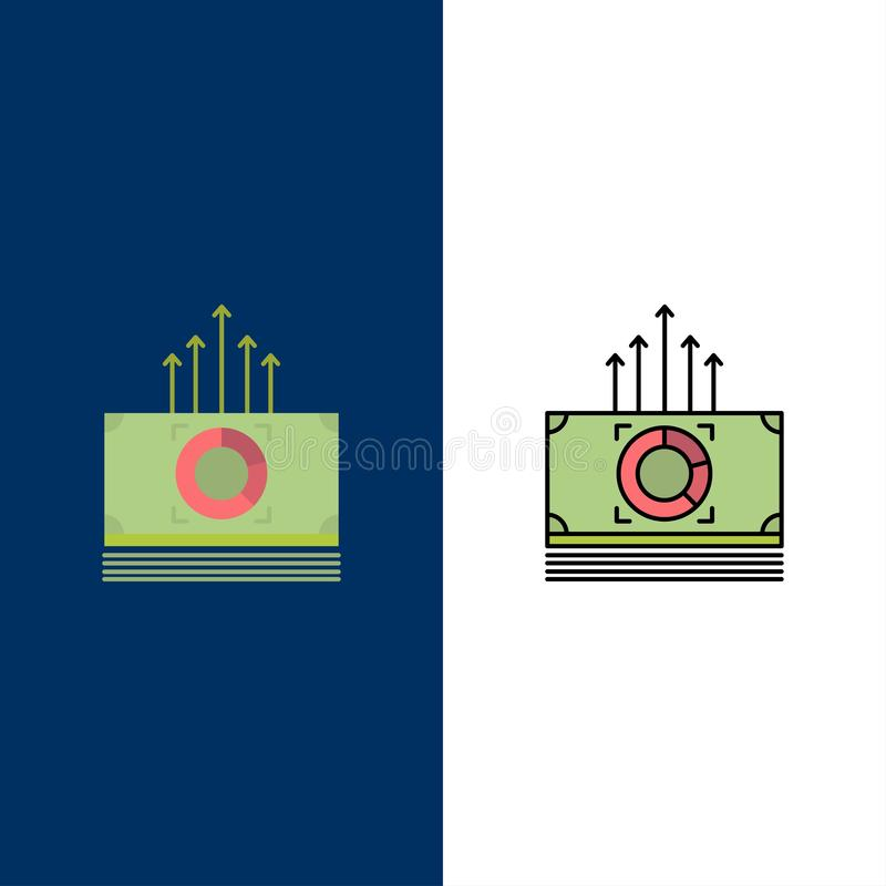 Dinero, paquete, dólares, iconos de la transferencia El plano y la línea icono llenado fijaron el fondo azul del vector stock de ilustración